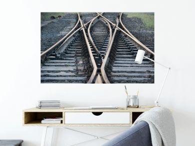 Railroad Tracks By Bridge