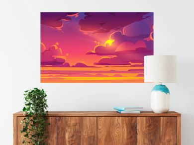 Sunset sky with sun peek out of fluffy clouds. Beautiful nature landscape background, pink, orange and lilac cloudscape evening or morning view with shining Sol and stars. Cartoon vector illustration