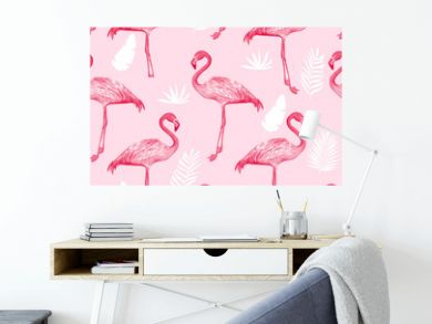 Hand drawing print design. Flamingo seamless pattern vector illustration.