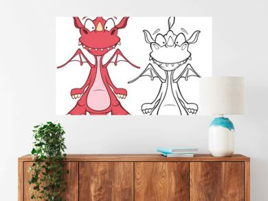 Vector Illustration of a Cute Cartoon Character Dragon for you Design and Computer Game. Coloring Book Outline Set