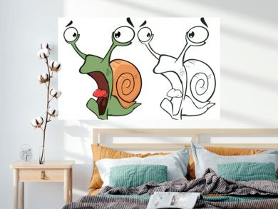 Vector Illustration of a Cute Cartoon Character Snail for you Design and Computer Game. Coloring Book Outline Set
