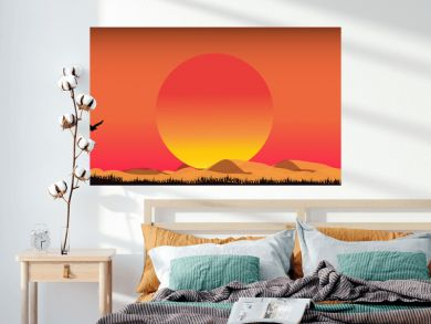 Safari theme.Silhouettes of birds flying in the orange sky At sunset, sunset time with Birds in the sky.The bird flew home.End of mission concept.