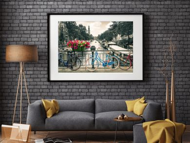 Amsterdam - Black and white photo with colored bicycles