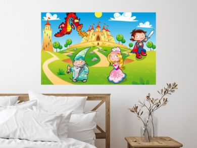 Funny cartoon illustration with background.