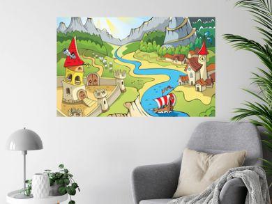 Fairy tale landscape, wonder land, castle and town, cartoon