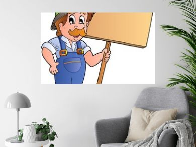 Cartoon farmer holding wooden board