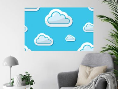 Seamless clouds on blue sky background, pattern