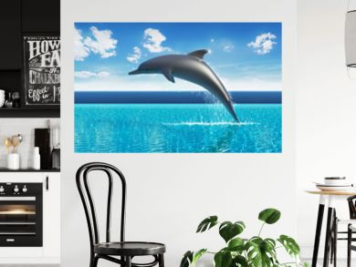 Dolphin jumps above pool water, summer sky aquarium