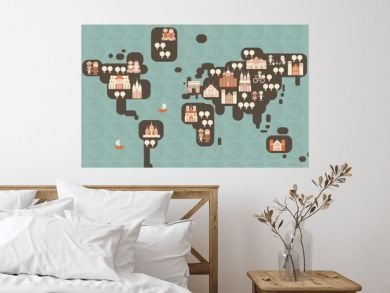 funky cartoon map of the world