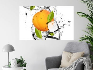 Apricot with ice cubes, isolated on white background
