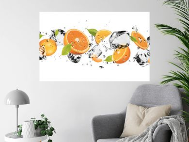 Ice fruit on white background