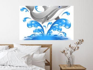 Happy Jumping Dolphin Cartoon-Delfino Salta in Acqua