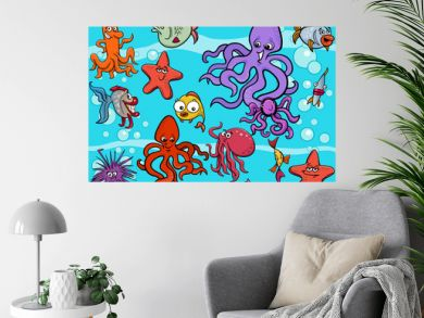 sea life group cartoon