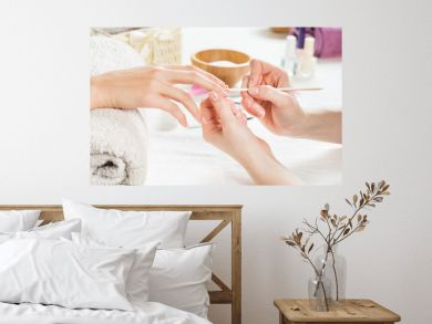 French manicure at spa center
