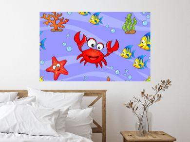 Seamless pattern with cute cartoon sea animals