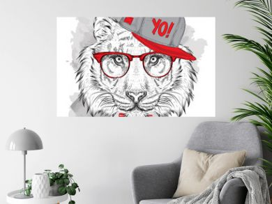 The poster with the image tiger portrait in hip-hop hat. Vector illustration.
