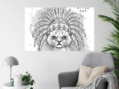 Cat in the Indian roach. Indian feather headdress of eagle. Hand draw vector illustration