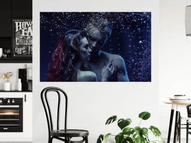 Romantic portrait of a nude couple