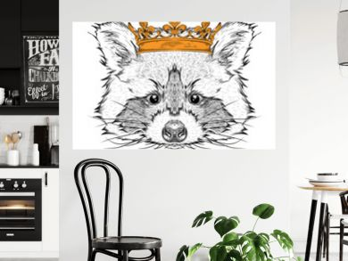 Hand draw Image Portrait raccoon  in the crown. Use for print, posters, t-shirts. Hand draw vector illustration