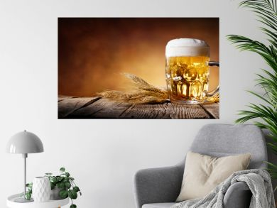 Beer With Wheat On Wooden Table