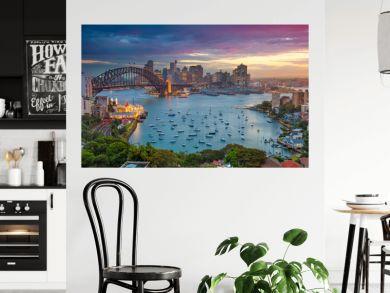 Sydney. Cityscape image of Sydney, Australia with Harbour Bridge and Sydney skyline during sunset.
