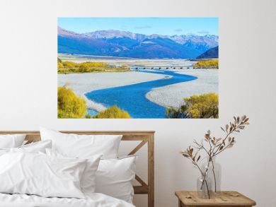 Panoramic image of beautiful scenery of Arthur's pass National Park in Autumn , South Island of New Zealand