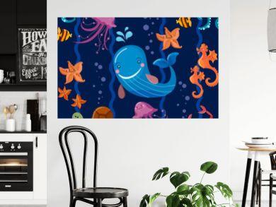 Sea animals seamless pattern, octopus, fish, whale, jellyfish, turtle, crab cartoon Cute Sea life seamless background vector