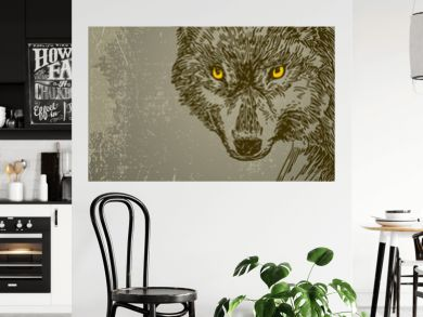 Beautiful background with wolf. Vintage style. Vector illustration.