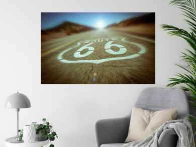 Motion blur Route 66 vintage colour effect