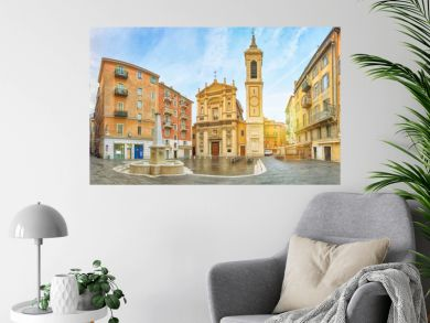 Nice Cathedral made in baroque style located on Place Rossetti square in Nice, Alpes-Maritimes, France