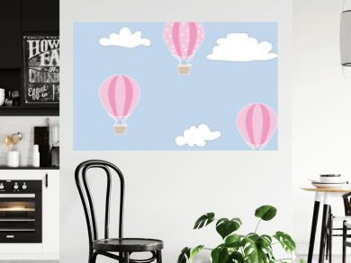on the card many air balloons in the sky with clouds. pattern or print in textile. paint inn blue white and pink color.