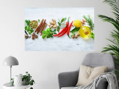 Fresh aromatic herbs and spices for cooking