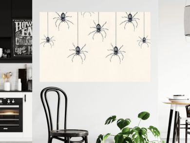 Illustration-sketch of many black spiders drawn in black china dangling isolated on a light yellow sheet background