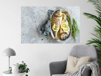 Baked fish dorado. Sea bream or dorada fish grilled