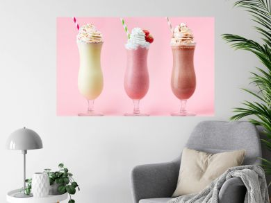 Vanilla, Strawberry and Chocolate milkshake