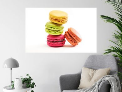 Fresh bright colored Macarons, or macaroons isolated on white