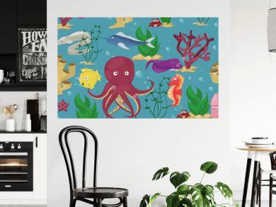 Sea animals seamless pattern background vector water plants ocean fish cartoon illustration undersea water marine aquatic character life.