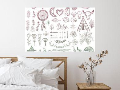 Boho vector ethnic bohemian feather arrow and tribal decoration in bohostyle illustration vintage style set isolated on white background
