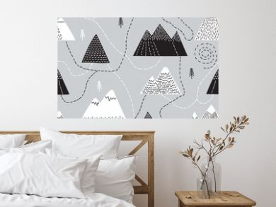 Cute hand drawn seamless pattern with trees and mountains. Creative scandinavian woodland background. Forest. Stylish sketch