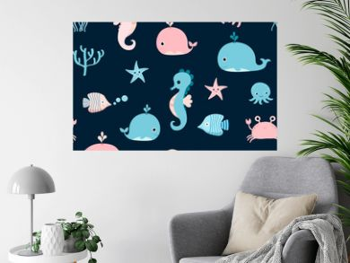 Cute vector seamless pattern with pink and blue sea animals for summer kids designs and backgrounds
