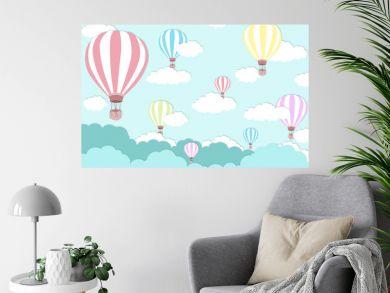 Pink balloon on bright blue sky background - Balloon artwork for International balloon festival - illustration