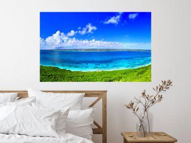 真夏の宮古島。来間島の竜宮城展望台から見た風景(パノラマ)