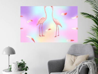 Seamless pattern, background. with pink flamingos and feathers on In light ultra violet pastel colors on mesh pink, blue background. Stock vectorillustration.