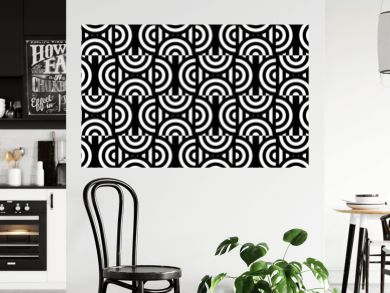Seamless pattern with circles and striped black white straight lines. Optical illusion effect. Geometric tile in op art style. Vector illusive background for cloth, textile, print, web.