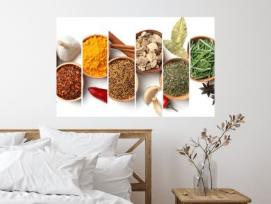 Set of different spices and herbs on white background, top view