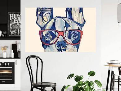 French bulldog in blue