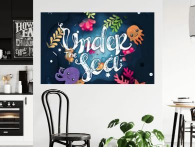 """Under water life cute cartoon background with lettering """"Under the sea"""""""