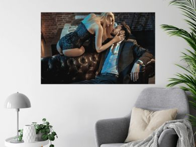 Portrait of a romantic couple in a luxurious apartment