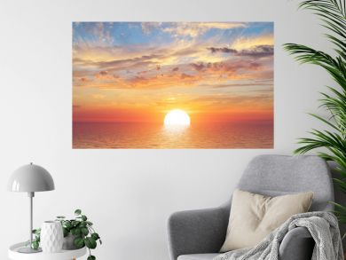 Summer sky background on sunset