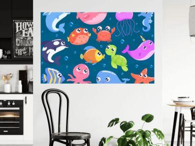 Cute cartoon sea animals vector illustration.